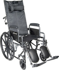 "Drive SSP18RBDDA Silver Sport Reclining Wheelchair with Elevating Leg Rests, Detachable Desk Arms, 18"" Seat (SSP18RBDDA)"