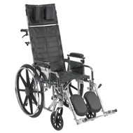 "Drive STD16RBADDA Sentra Reclining Wheelchair, Detachable and Adjustable Height Desk Arms, 16"" Seat (STD16RBADDA)"