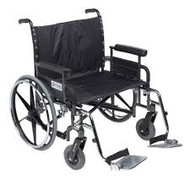"Drive STD28DFA-SF Deluxe Sentra Heavy Duty Extra Extra Wide Wheelchair with Detachable Full Arm and Swing Away Footrests, 28"" Seat"