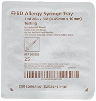 "BD 305539 1mL BD PrecisionGlide Allergy Syringe tray with 26G x 3/8"" permanently attached needle, regular bevel and regular wall 25/sp"