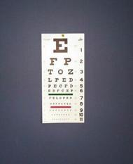 """Snellen Type EYE CHART 20ft PLASTIC 22"""" x 11"""" (139-1240)"""