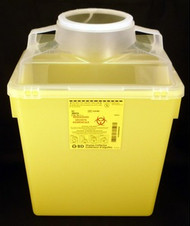 "BD 300434 22.7L nestable sharps collector, 17.5"" x 12.5"" x 8.5"". Yellow base, natural top with vertical entry. (300434)"
