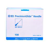 "BD 305127 HYPODERMIC NEEDLE 25G, 1.5"" REGULAR BEVEL STERILE Disposable BX/100"
