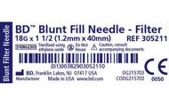 "BD 305211 NEEDLE FILTER 18G x 1.5"" BL 5 MICRON w/BLUNT FILL TIP BX/100 (305211)"