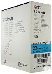"BD 381323 IV CATHETER INSYTE WINGED 22GA x 1.01"" Blue BX/50 (BD 381323)"