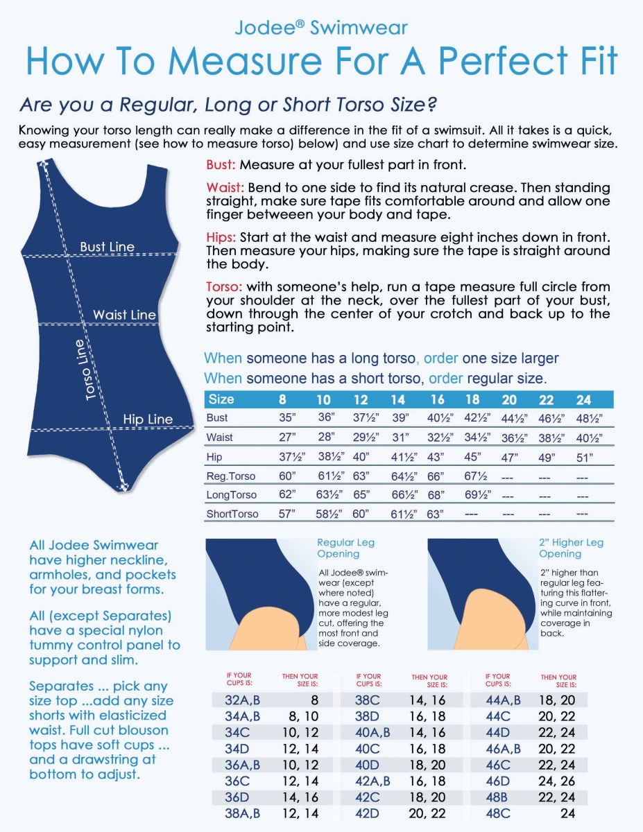 Jodee Swimwear Size Chart, Fitting Chart