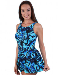 JODEE 2069/2070 BLUE MAZE MASTECTOMY SWIM DRESS