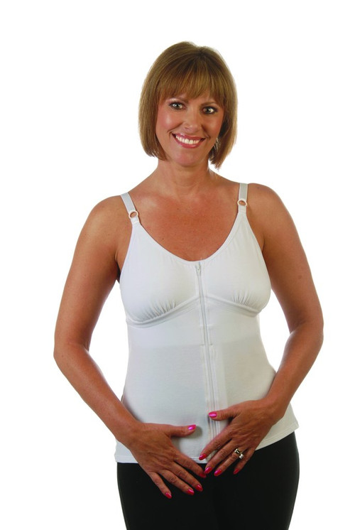 Beth Post-Surgical Camisole by Wear Ease®-Front Zip, Adjustable, Soft with 2 Removable Drain Tube Pouches