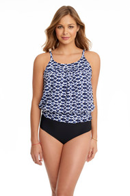 Penbrooke 5510341M Indigo Cloud Yoke Blouson Mastectomy Tankini Swim Top