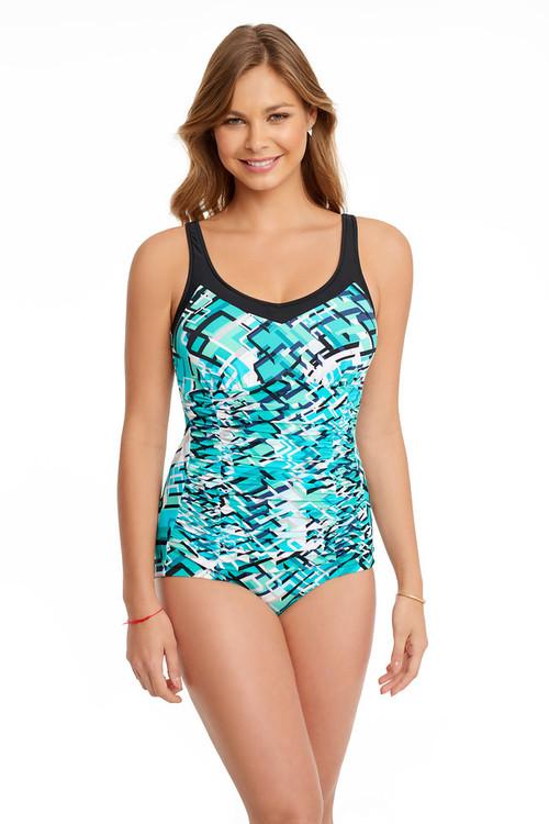 Penbrooke 5510562M Corners Framed Shirred Girl Leg Mastectomy Swim Suit