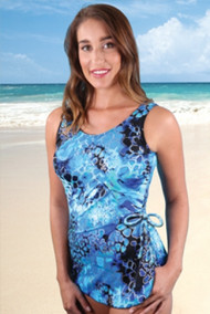 Jodee 4008/4009 Deep Sea Coral Sarong Style Mastectomy Swimsuit