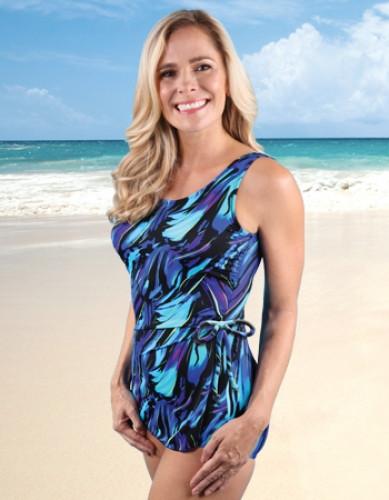 Jodee 4012/4013 Deep Waters Sarong Style Mastectomy Swimsuit
