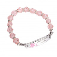 Lymphedema Alert Pink Beaded Bracelet