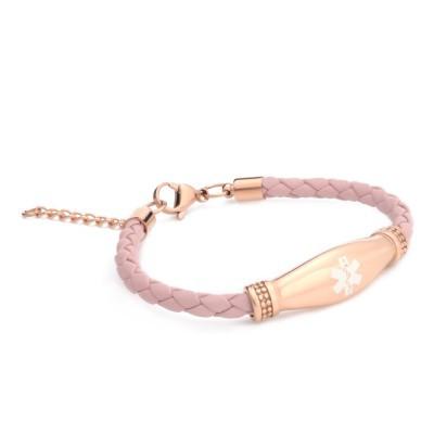 Lymphedema Alert Rose Gold Pink Leather Bracelet