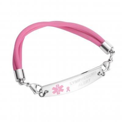 Lymphedema Alert Triple Strand Silicone Pink Bracelet