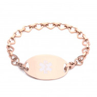 Lymphedema Alert Rose Gold Open Hearts Bracelet