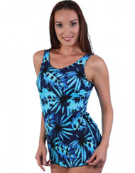 JODEE 2059/2060 BLUE MAZE SARONG MASTECTOMY SWIM SUIT