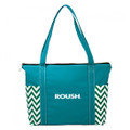 Roush Teal Green Chevron Zippered Tote Bag (3487)