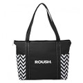 Roush Black Chevron Zippered Tote Bag (3489)