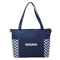 Roush Navy Chevron Zippered Tote Bag (3488)