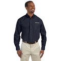 Roush Mens Navy Poplin Long Sleeve Dress Shirt (3631)