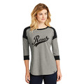 Roush Script Ladies Black/Heather Gray 3/4 Sleeve Shirt (3984)