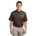 Roush Mens Coffee Short Sleeve Dress Shirt (4009)