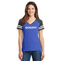 ROUSH Ladies Heather Blue/Charcoal Varsity Tee (4014)