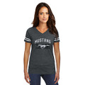 Ford Mustang Ladies Heather Charcoal V-Neck Tee (4083)