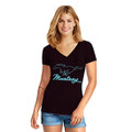 Ford Mustang Ladies Blk/Teal V-Neck Tee (4085)