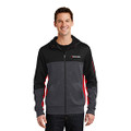 Roush Mens Square R Heather Gray/Red Colorblock Full Zip Hoodie (4146)