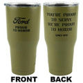 One tumbler included; front and back is pictured here.