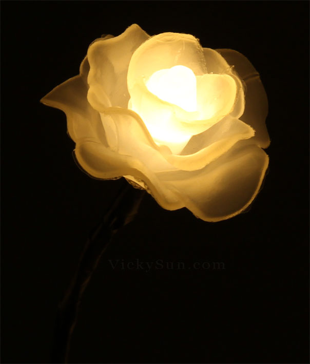 Vickysun 35cm battery operated wedding rose flower warm white led warm white rose flower lights in vase mightylinksfo