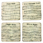 Set 4 Shabby Chic Marble Look Christmas Musical Coasters