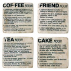 Set 4 Shabby Chic Marble Look Friend Coffee Cake Tea Coasters