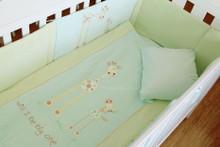 6 Piece Baby Nursery Embroidered Cot Bedding Set Baby Giraffe Blue