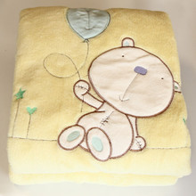 Baby Nursery Embroidered Fleece Cot Blanket Treacle and Bubble