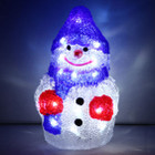Battery Operated 23CM 3D Acrylic Snowman with Blue Hat White LED Christmas Lights
