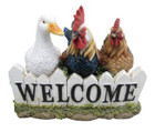 30CM Welcome Duck Rooster & Hen Polyresin Garden and Home Decor