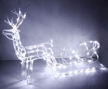 LED 3D Acrylic Reindeer and Sleigh Christmas Lights