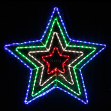 Animated 110CM LED Flashing Red White Green Blue Star Christmas Motif Rope Lights