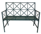 French Country Garden Bench Wrought Iron Blue