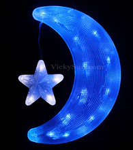 29CM 31 LED Blue Moon and Flashing White Star Lights