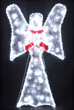 Animated 146CM LED White Angel Nativity Christmas Motif Lights with LED Cool White Rope Lights Outline (36V Safe Voltage)