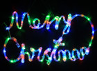 Animated 56CM LED 'Merry Christmas' Sign Multi Colours Motif Rope Lights