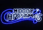 Animated 146CM Blue and White 'Merry Christmas' Motif Rope Lights (36V Safe Voltage)