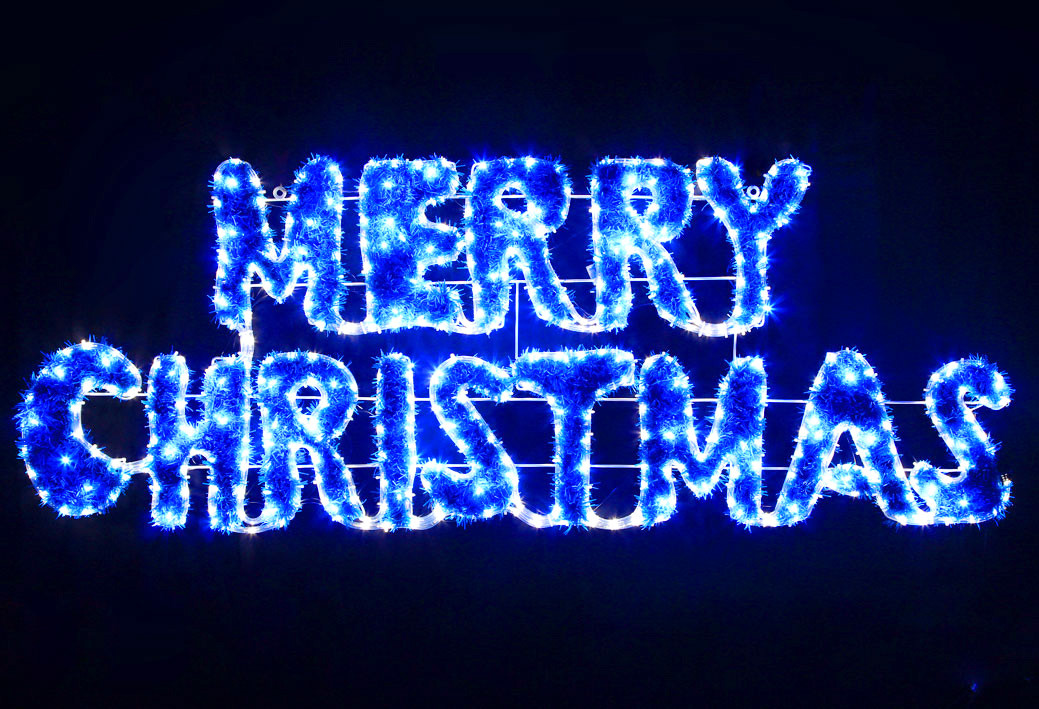 VickySun.com - Animated 160CM LED Blue White Merry Christmas Sign ...
