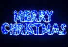 Animated 160CM LED Blue White Merry Christmas Sign Motif Rope Lights with PVC Grass (36V Safe Voltage)