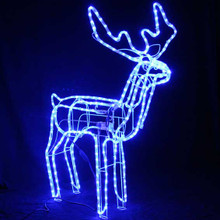 1M Animated Large LED Blue 3D Reindeer Motif Christmas Rope Lights