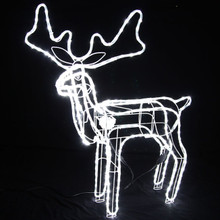 Animated Large LED White 3D Reindeer Motif Christmas Rope Lights